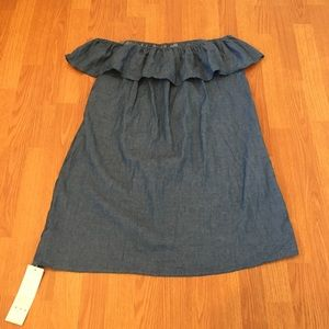 Off The Shoulder Dress Ruffle Hip Pockets Denim